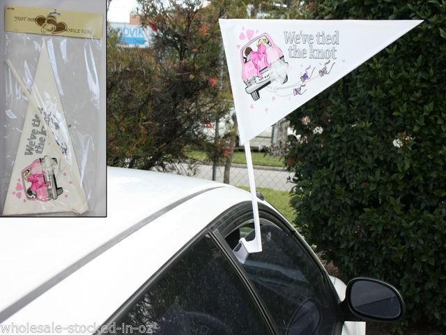 Mariage - 2 Car Flags Just Married We Tied The Knot Sign Great Way To Leave A Wedding