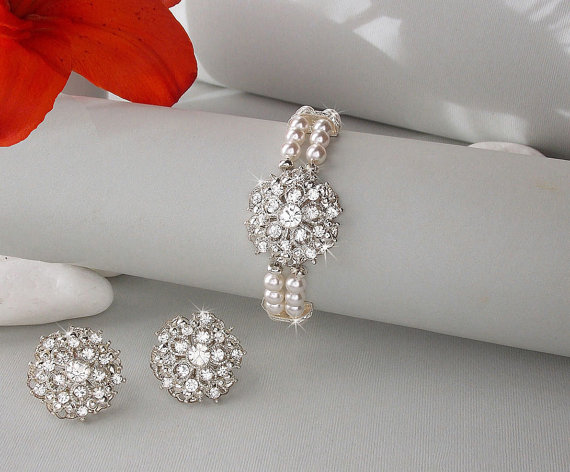 Bridal Bracelet Earring Set Vintage Jewelry Wedding Isabella