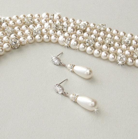 Mariage - Wedding Jewelry SET - Vintage Style, Bridal Jewelry Set, Cuff Bracelet, Drop Earrings, Swarovski Pearls, Bridesmaid Jewelry - PAIGE