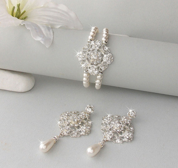 Wedding Jewelry Set Vintage Style Bridal Earring Bracelet Brooch Pearl Earrings Bridesmaid Lorena