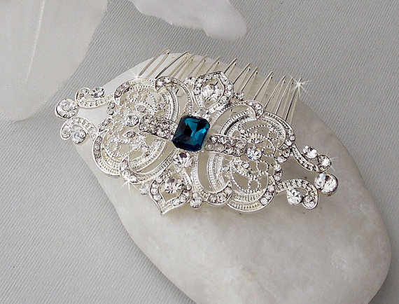 Art Deco Hair Comb Swarovski Crystal Head Piece Bridal Wedding Accessories Vintage Veronica