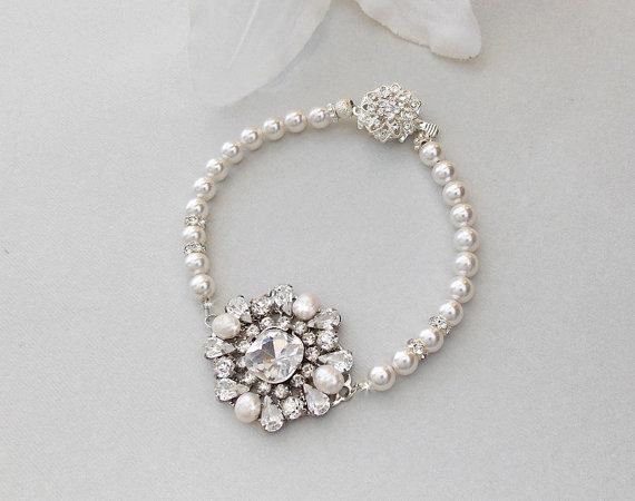 Свадьба - Wedding Bracelet, Pearl Bridal Bracelet, Swarovski Pearls, Rhinestone Bracelet, Crystal Bracelet, Art Deco Style Bracelet -VIOLET