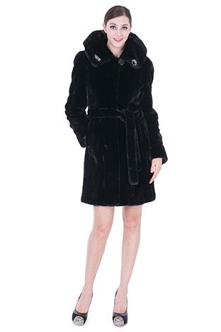 Свадьба - Black faux mink cashmere with mink fur women knee-length coat
