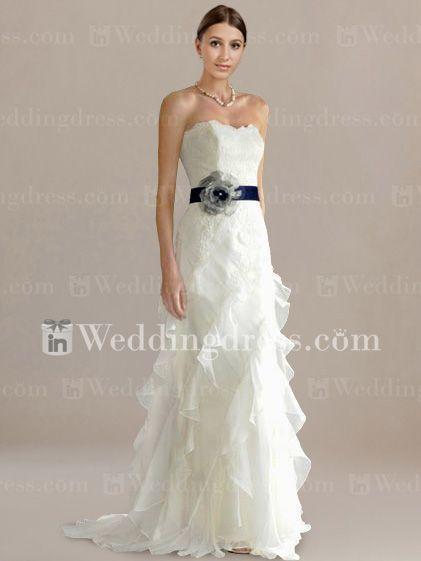 Mariage - Slim Strapless Destination Wedding Dress With Sash