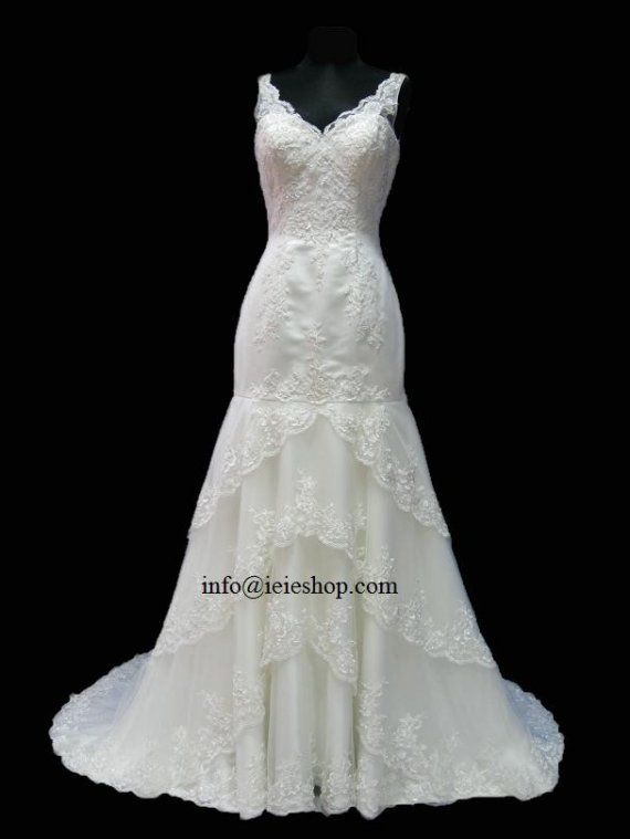 Mariage - Beautiful V Neck Layered Lace Trumpet Wedding Dress With Low Back YR1015