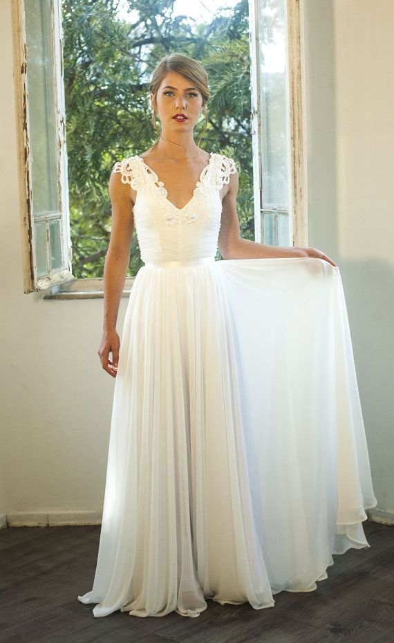 Romantic Vintage Inspired Wedding Gown Custom Made Chiffon