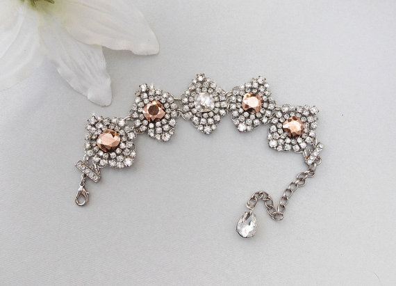 Bridal Bracelet Rose Gold Wedding Bracelet Crystal Bracelet