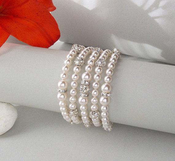 Свадьба - Bridal Bracelet - Pearl Cuff Bracelet, Swarovski Pearls, Old Hollywood Style, Pearl Wedding Bracelet, Bridesmaid- OLIVIA