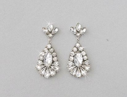 Wedding Crystal Earrings Bridal Vintage Style Rhinestone Dangle Teardrop Jewelry