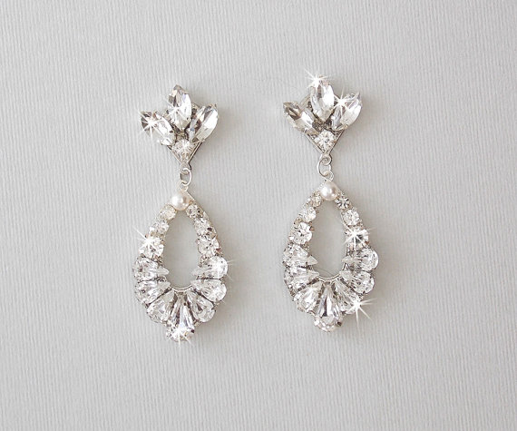 Wedding Earrings Bridal Vintage Style Crystal Rhinestone Dangle Teardrop Jewelry Marie