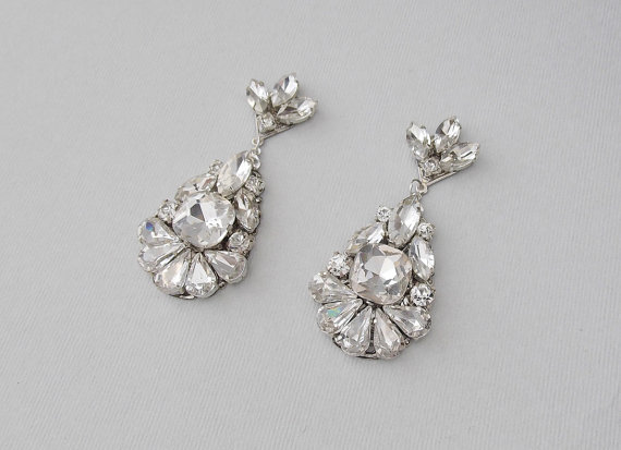 Wedding Earrings Chandelier Bridal Vintage Style Crystal Rhinestone Dangle Jewelry Deirdra