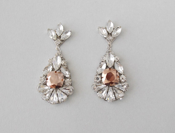 Bridal Earrings Rose Gold Wedding Vintage Style Rhinestone Dangle Teardrop Jewelry