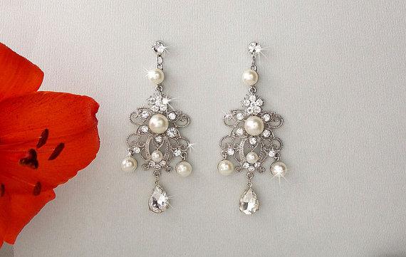 Bridal Earrings Chandelier Swarovski Crystals Wedding Ivory Pearl Dangle Bridesmaid Natalie