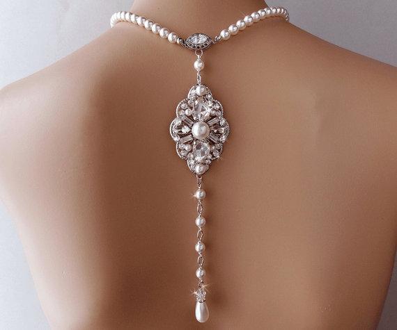 Свадьба - Backdrop Pearl Necklace - Bridal Backdrop Necklace, Wedding Necklace, Pearl Necklace, Bridal Jewelry, Bridal Statement Necklace - NOIRINE