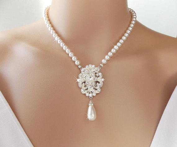Bridal Necklace Pearl Wedding Statement Vintage Jewelry Brooch Crystal Matina
