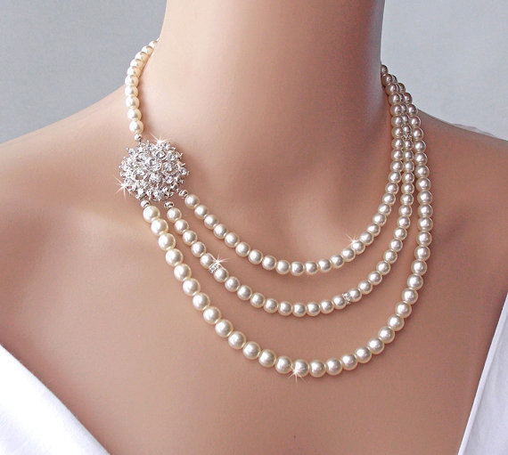 Mariage - Bridal Necklace - Brooch Necklace, Wedding Necklace, Pearl Necklace, Vintage Necklace, Bridal Jewelry, Statement Necklace -VICTORIA