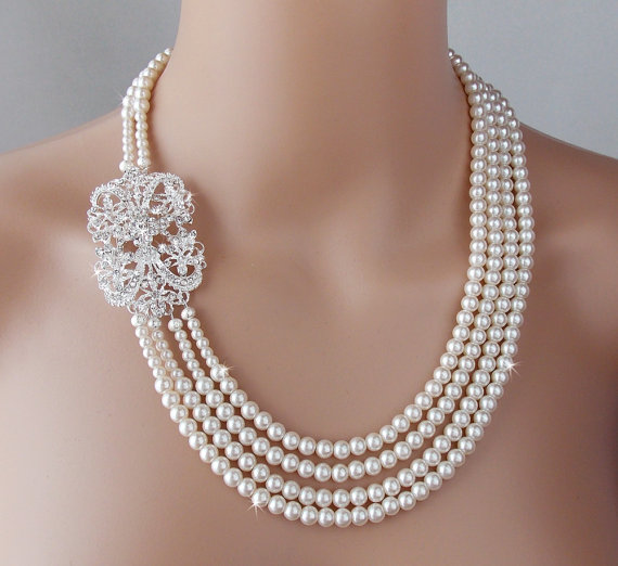 469c9118d Bridal Necklace, Wedding Pearl Necklace, Gatsby Necklace, Crystal Necklace, Vintage  Style, Statement Necklace, Brooch Necklace- EMILY
