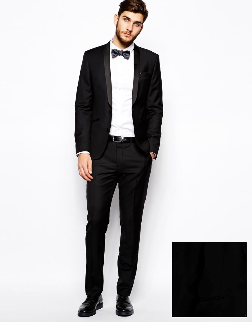 Asos Slim Fit Tuxedo Suit Jacket In 100 Wool