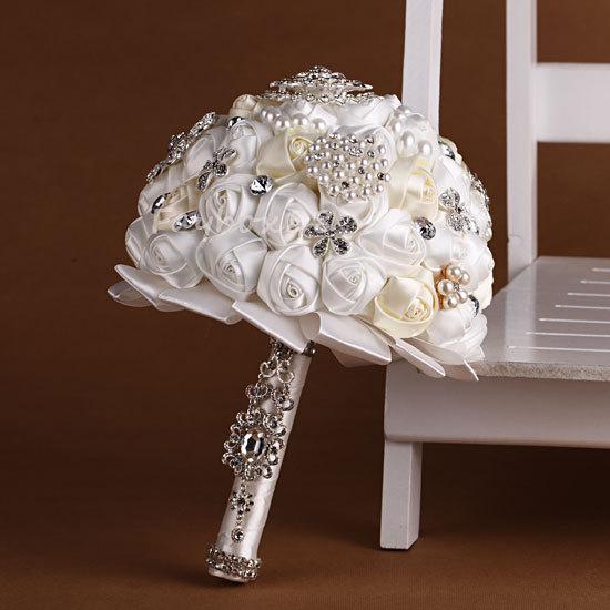 Handmade Flower Bridal Wedding Bouquet Crystal Pearls Silk