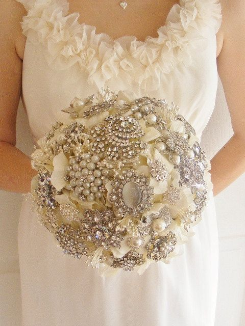 Свадьба - Deposit On Large Bridal Brooch Bouquet - Pearls And Rhinestones - Silver - Made To Order