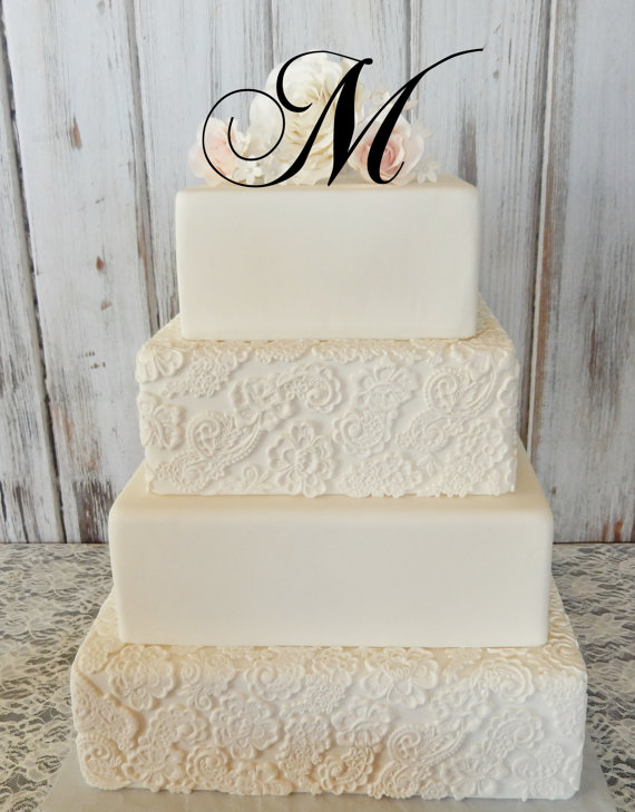 "Wedding - 5"" Tall Initial Monogram Wedding Cake Topper Letter A B C D E F G H I J K L M N O P Q R S T U V W X Y Z"