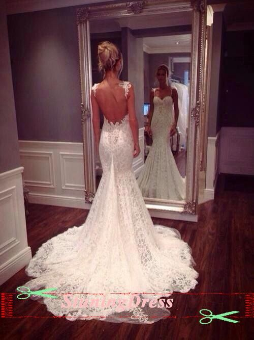 Lace wedding dress open back wedding dress boho wedding for Fitted lace wedding dress with open back