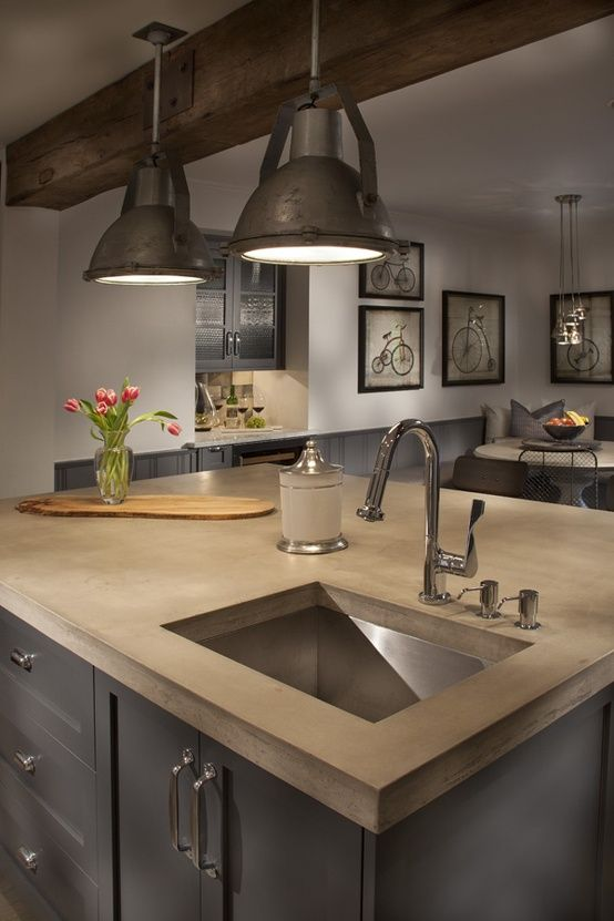 Modern lofts and industrial spaces are becoming more and for Industrial style kitchen uk