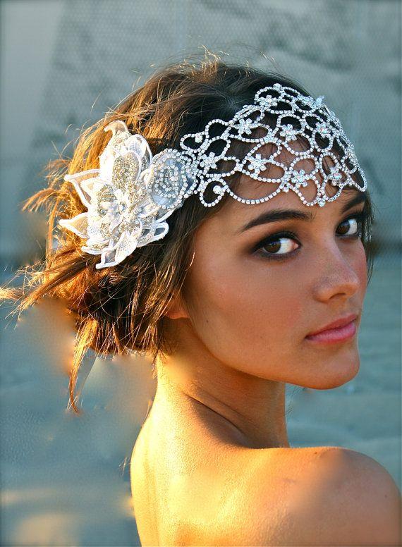 زفاف - Vintage Inspired Crystal Bridal Head Cap- Juliet