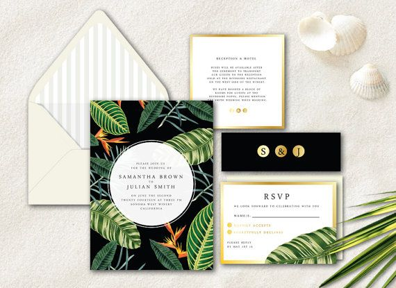tropical wedding invitation, modern wedding invitation, floral, Wedding invitations