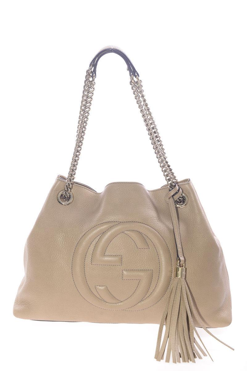100% Authentic GUCCI Beige Leather SOHO HOBO Bag With Chain Straps ...
