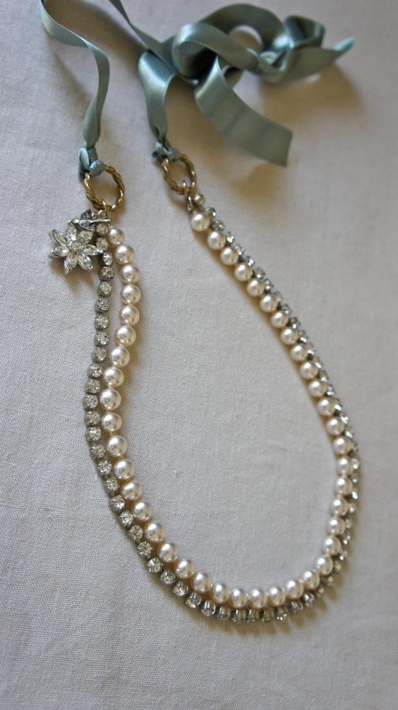 Wedding - Vintage Rhinestone And Faux Pearl Ribbon Necklace With Vintage Jewelry And Bird Charms