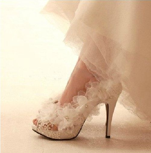 Wedding Shoes Flowers Lace Bridal Shoes Peeptoes Lace Shoes High