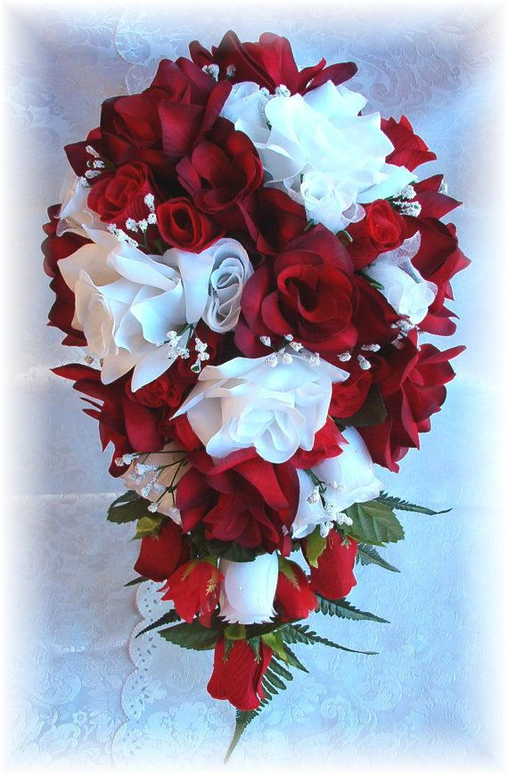8pc apple red white silk wedding flowers bridal bouquet roses set 8pc apple red white silk wedding flowers bridal bouquet roses set mightylinksfo