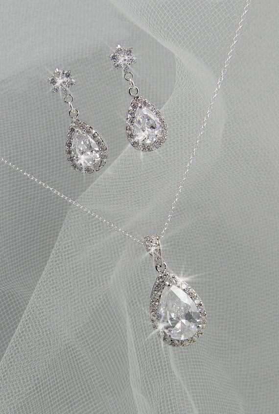 زفاف - Crystal Bridal Set. Bridesmaids Jewelry Set, Crystal Pendant And Earrings, Wedding Jewellery, Ariel Bridal Jewelry SET