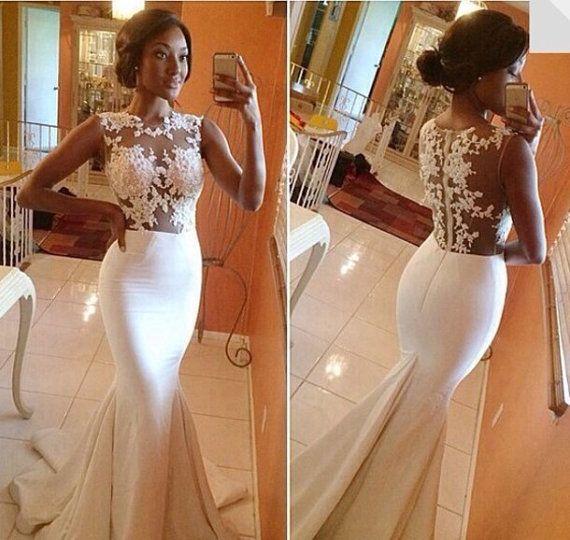 زفاف - Sheer Back Sweetheart Mermaid Beach Wedding Dress , Bridal Gown , Prom Dress Gown,formal Dress