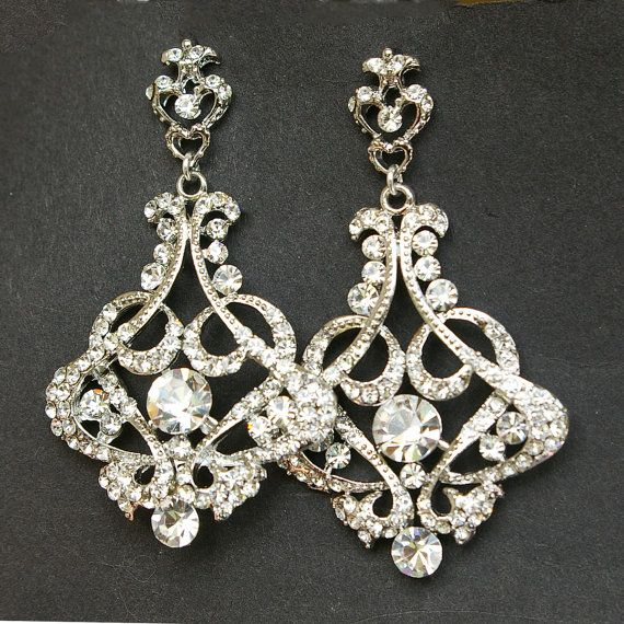 Crystal Chandelier Bridal Earrings Vintage Style Wedding Victorian Statement Cressida