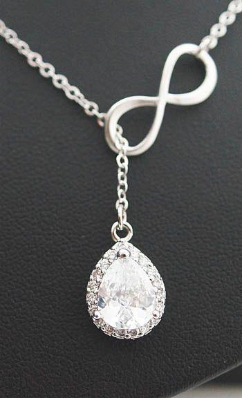 زفاف - Infinity And Lux Cubic Zirconia Pendant Lariat Necklace , Infinity Necklace, Bridesmaid Gift Bridesmaid Necklace Bridesmaid Jewelry Wedding