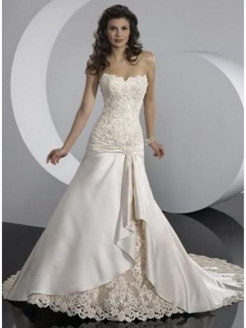 Wedding - A-Line Strapless Beading Taffeta Wedding Dres