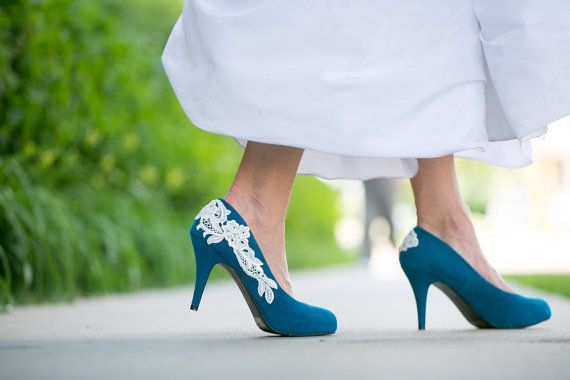 Wedding Shoes - Teal Blue Wedding Shoes/Bridal Shoes With Ivory ...