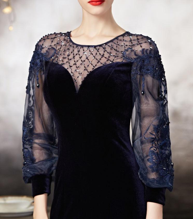 robe bleu nuit pour soir e en tissu velours manche semi transparente 2178608 weddbook. Black Bedroom Furniture Sets. Home Design Ideas