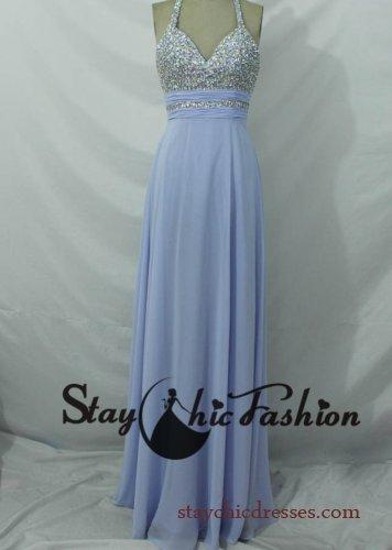 Hochzeit - Lavender Long Sequined Halter Top Low Back Chiffon Prom Dress 2014