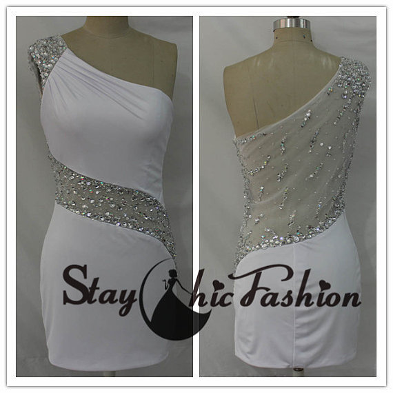 Boda - White One Shoulder Beaded Illusion Waist Back Short Fitted Jersey Prom Dress