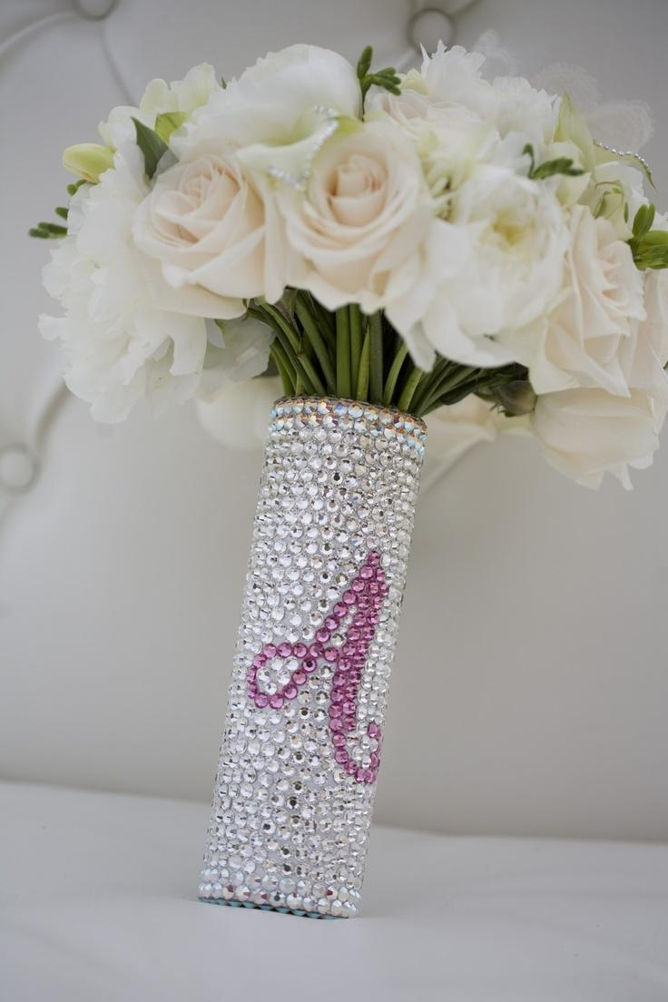 Bridal Flowers With Bling : Custom swarovski crystal bridal bouquet jeweled handle