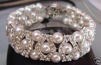 Bridal 27 Color Choices 18kgp Rhinestone Swarovski Pearl Bracelet 6mm Bride Bridesmaids Flower Maid Of Honour Party