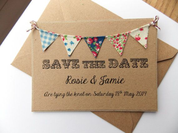 Hochzeit - Save The Date Fabric Bunting Wedding Invitation, Country Fete Rustic Summer Wedding Kraft Card