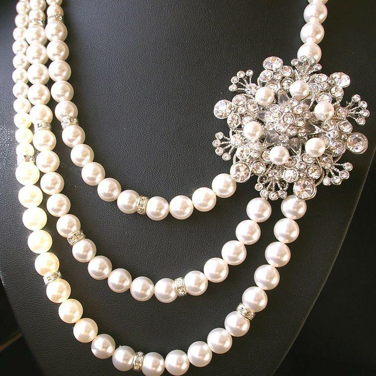 c31f6366b Statement Wedding Necklace, Pearl Bridal Jewelry, Vintage Style Bridal  Necklace, Rhinestone Wedding Necklace, Flower Necklace, BOUQUET