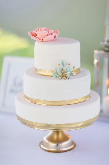 Mint Wedding - Pink Mint And Gold Wedding Cake #2179327 - Weddbook