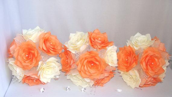 Свадьба - Orange Bridal bouquet, Fall wedding bouquet, Halloween Bouquet, Paper Bouquet, Fake flower bouquet, silk bouquet, Rose bouquet,Ivory bouquet