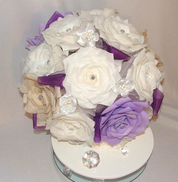 Custom White Bridal Party Bouquet Package Wedding Party Bouquets Paper Bouquets Wedding Party