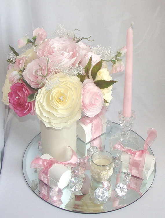 romantic wedding decor pink bridal decor wedding centerpieces baby shower decor bridal shower decor faux floral decor paper flowers